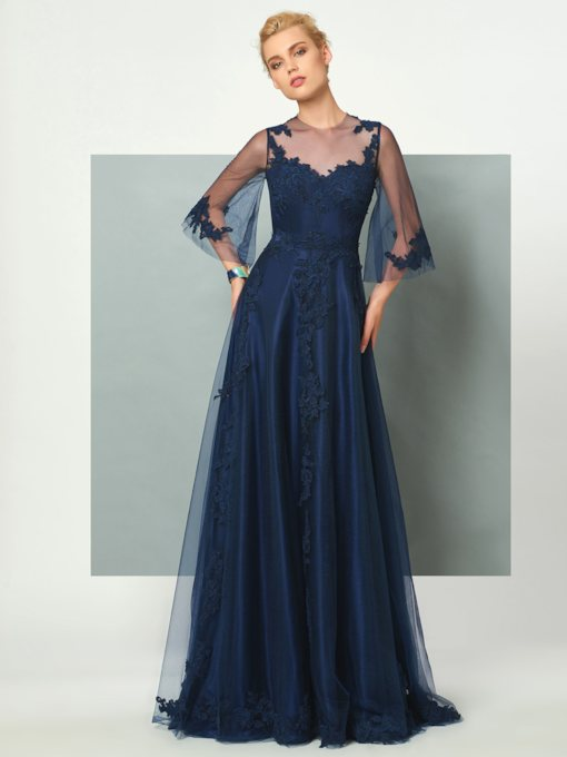 Jewel Button A-Line Appliques Floor-Length Evening Dress