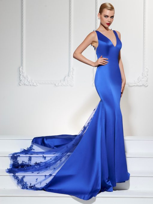 Mermaid V-Neck Lace Court Train Appliques Evening Dress
