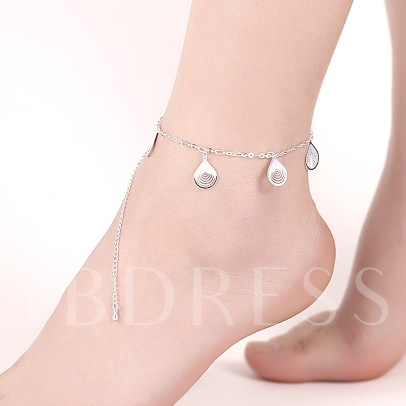 Water Droplets Pendant Silver Plated Anklet