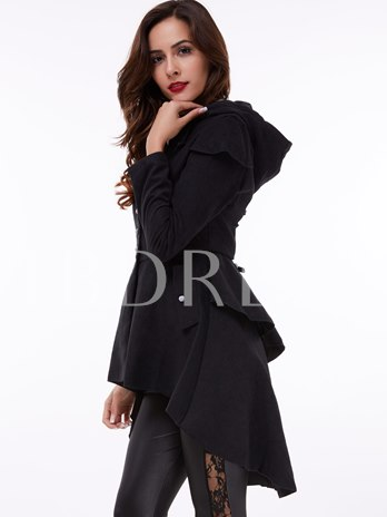 Corset Hooded Lace-Up Single-Breasted Women's Overcoat