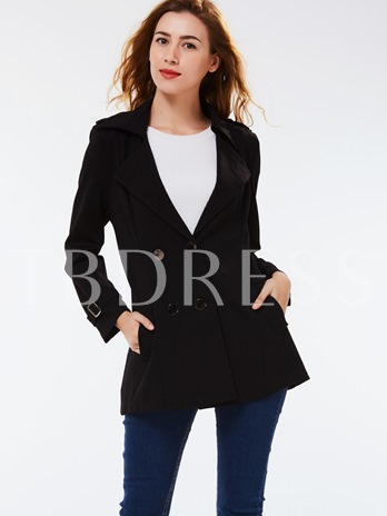 Double-Breasted Notched Lapel Slim Women's Overcoat