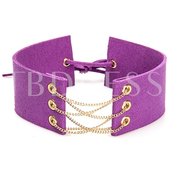 Chain Ultra Violet Wide Choker Necklace