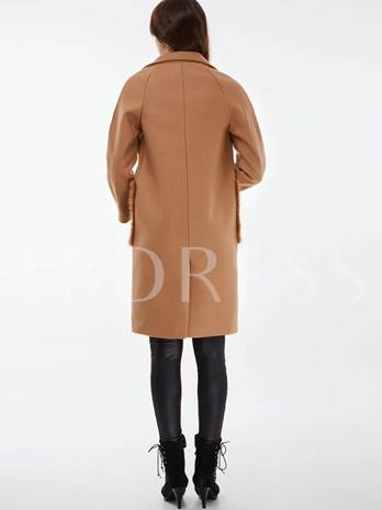 Burrs Pocket Solid Color Straight Lapel Ling Sleeve Women's Overcoat
