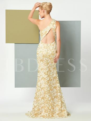 One-Shoulder Sheath Appliques Lace Brush Train Evening Dress