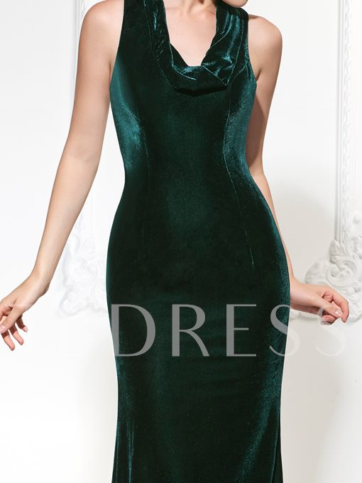 Mermaid Halter Velvet Court Train Evening Dress