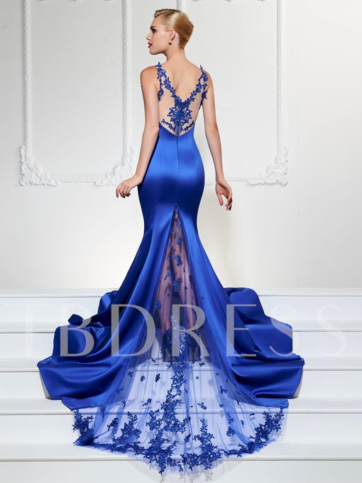 Mermaid V-Neck Lace Court Train Zipper-Up Evening Dress