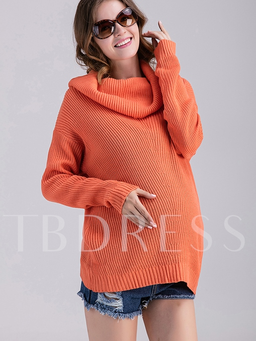 Slightly Long Solid Color Loose Stand Collar Long Sleeve Women's Sweater