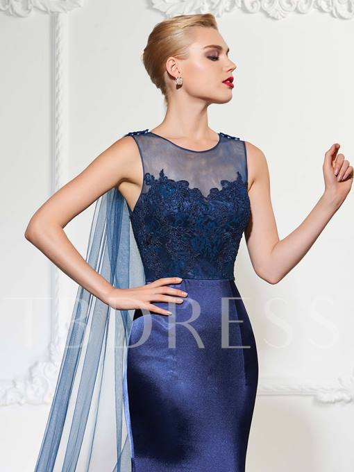 Jewel Sheath Appliques Lace Watteau Train Evening Dress