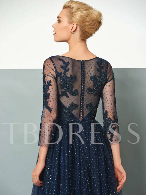 A-Line Scoop Beaded Appliques Sequins Evening Dress
