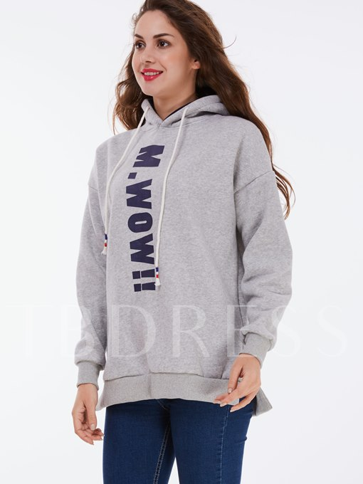 Solid Color Letter Hooded Straight Women's Hoodie
