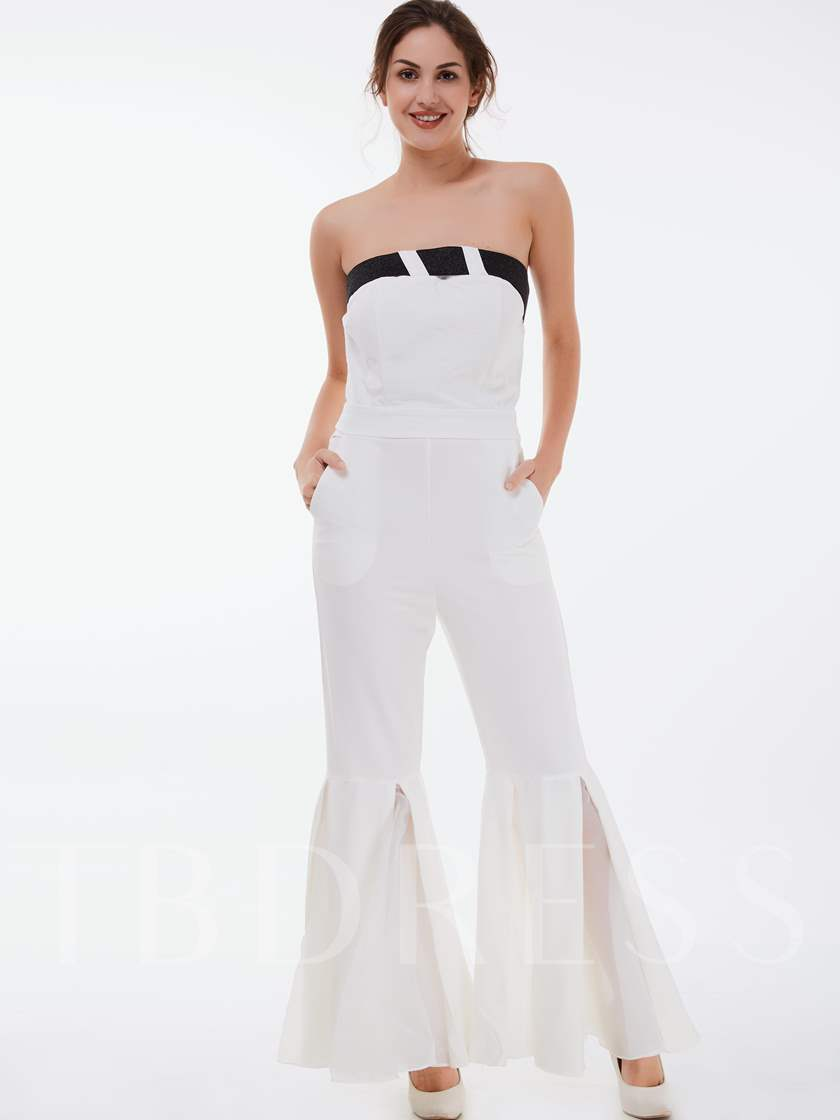 Boat Neck White Flared Women's Jumpsuits