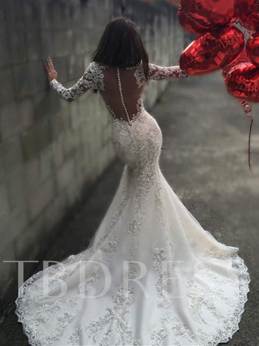 Sheer Back Appliques Mermaid Long Sleeves Wedding Dress