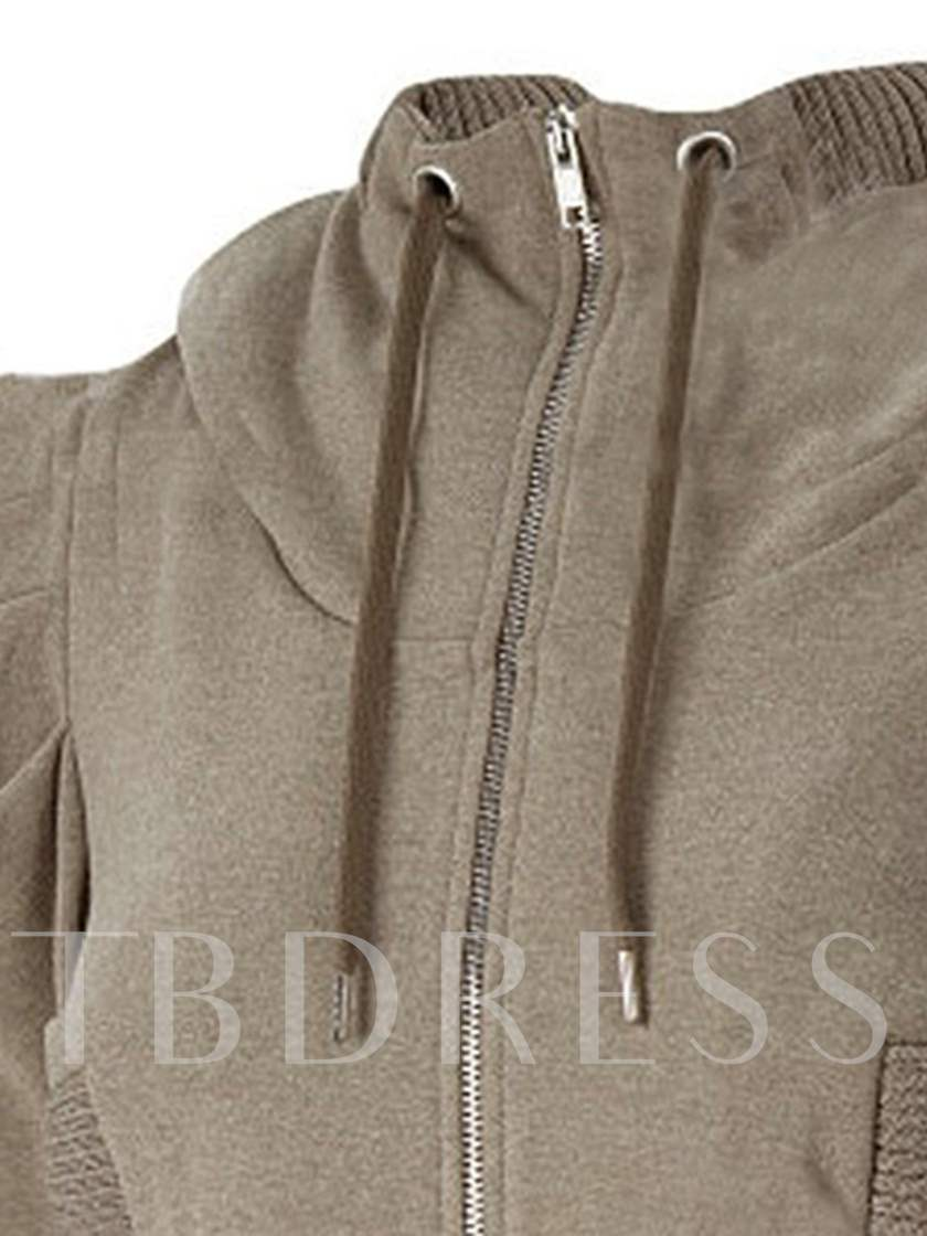 Plain Double Pocket Zipper Long Sleeve Women's Jacket