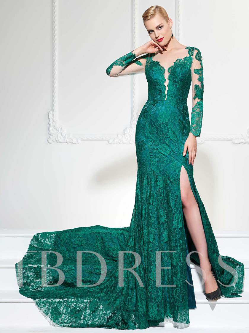 Illusion Neck Split-Front Lace Evening Dress