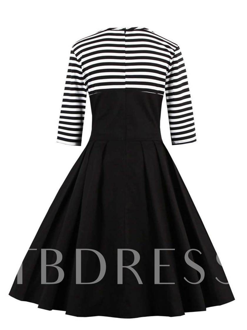 Cotton Blends Stripe Button All-Season Women's Day Dress