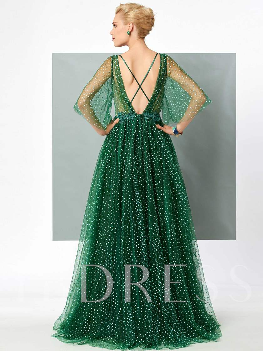 A-Line V-Neck Appliques Short Sleeves Sweep Train Evening Dress