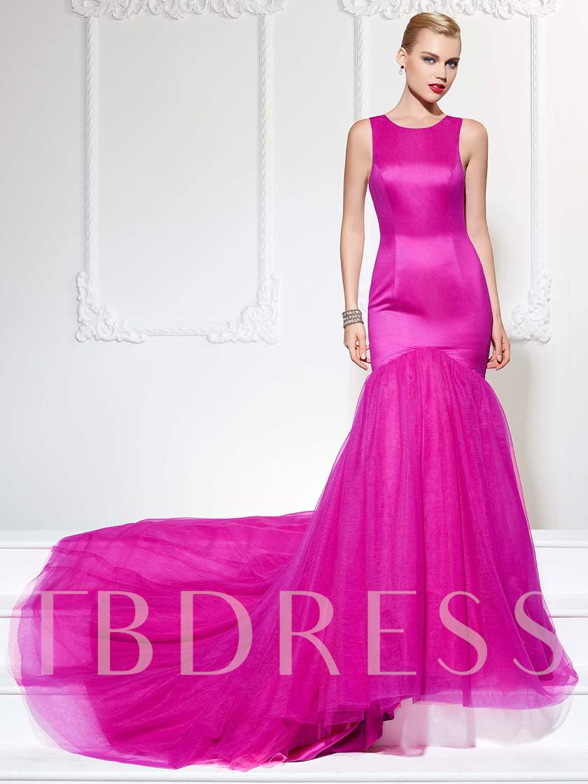 Button Trumpet Scoop Court Train Evening Dress
