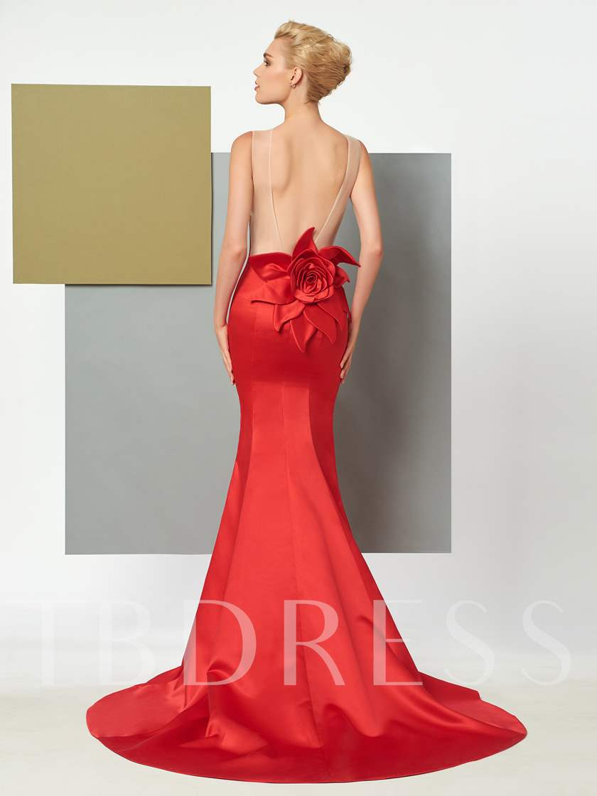 Scoop Mermaid Backless Flower Court Train Evening Dress