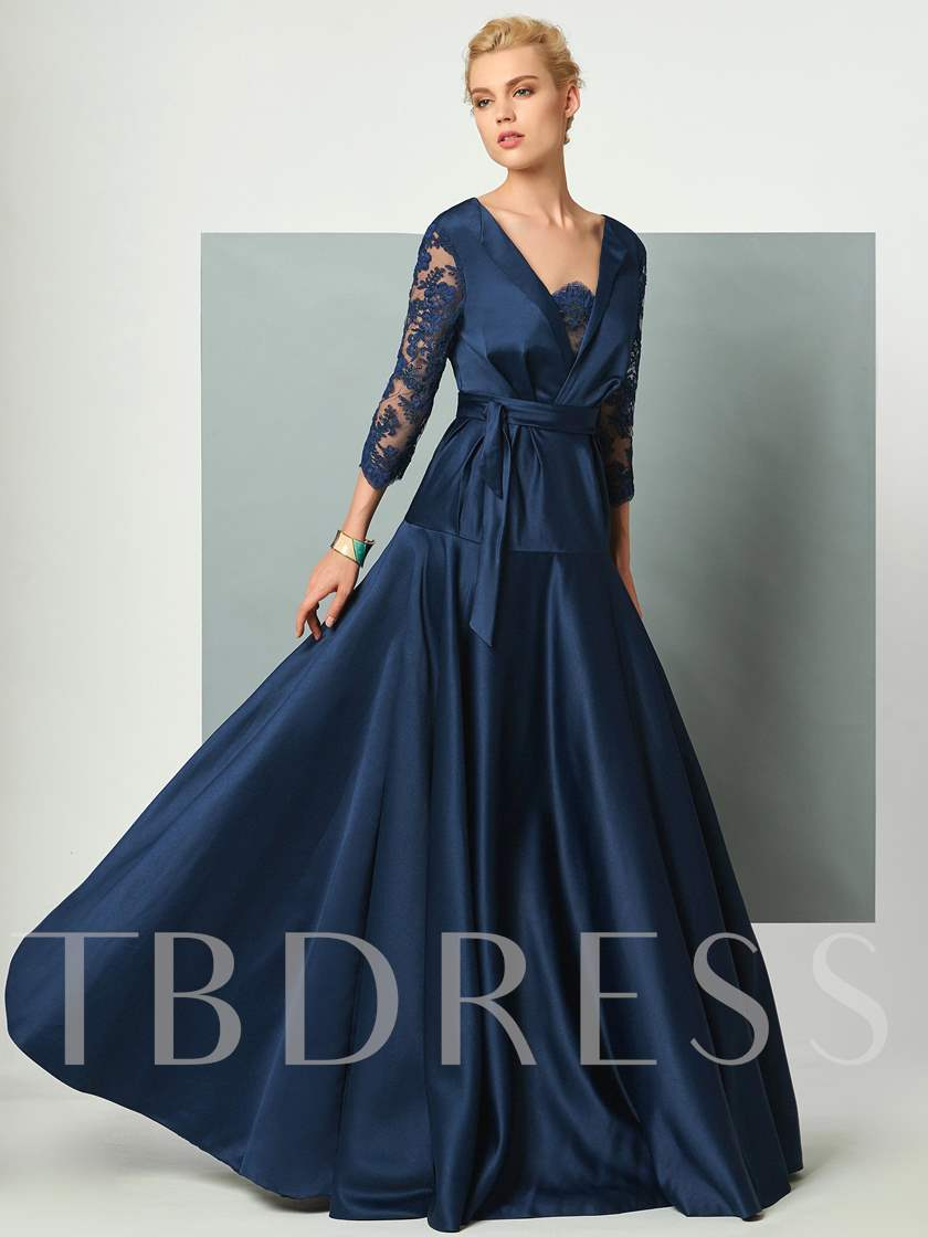 A-Line V-Neck Lace Pleats Sashes Evening Dress