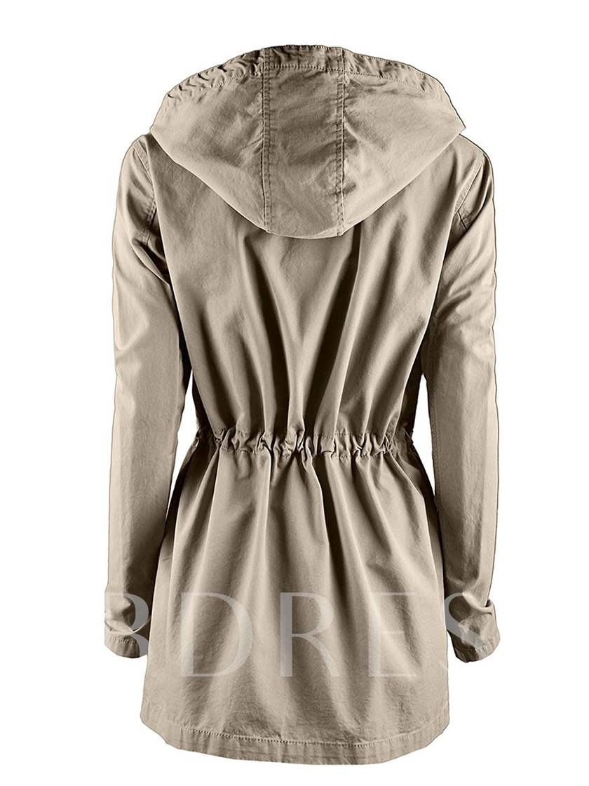 Hooded Single-Breasted Long Sleeve Women's Jacket