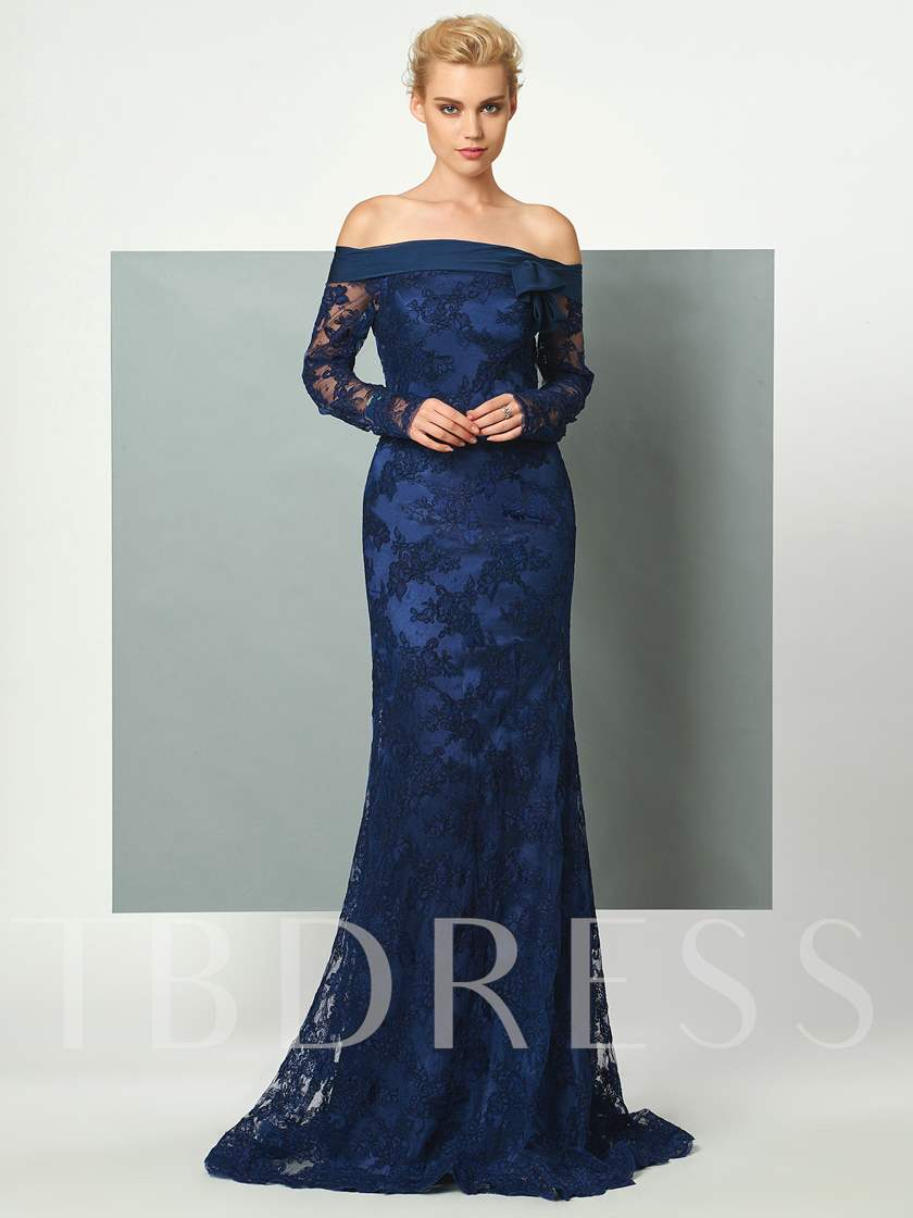 Mermaid Off-the-Shoulder Long Sleeves Bowknot Lace Sweep Train Evening Dress
