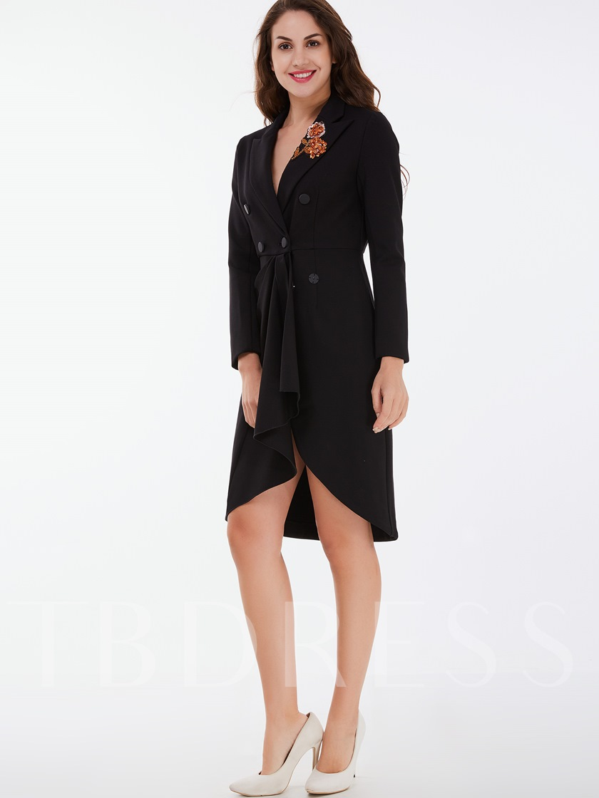 Asymmetric Embroidery Double-Breasted Lapel Women's Overcoat