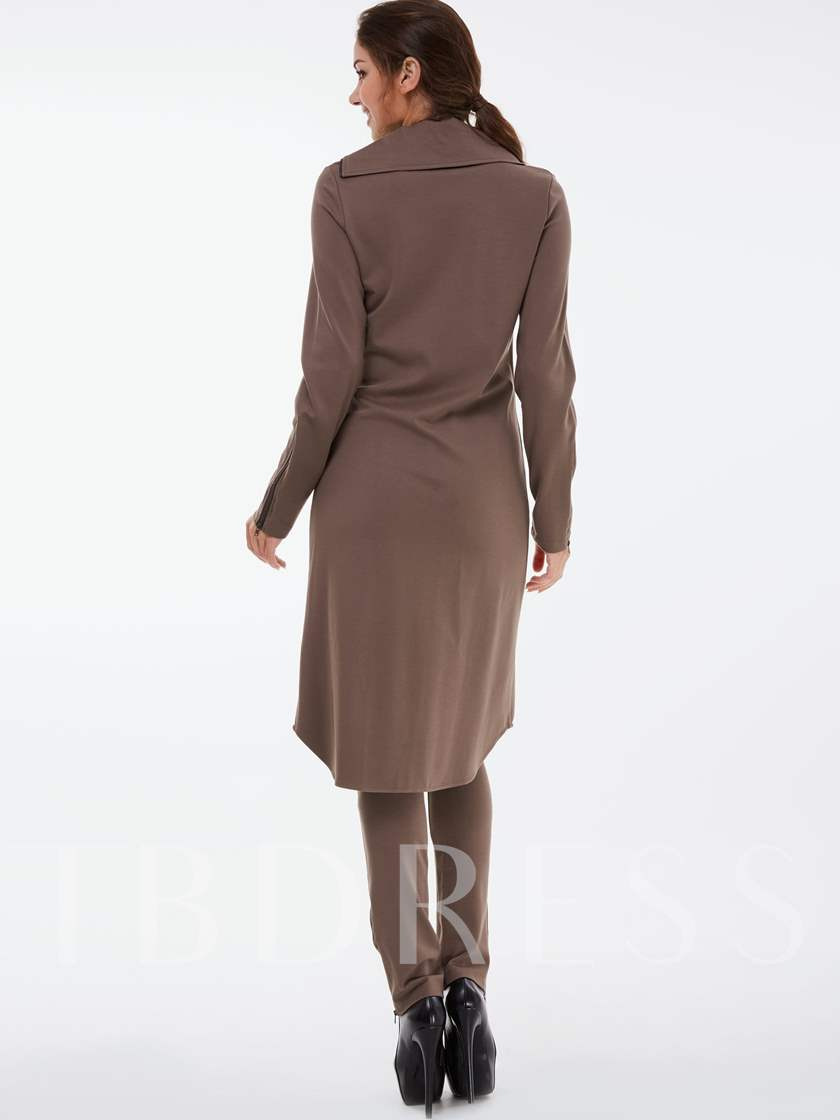 Solid Color Stand Collar Zipper Long Gown Coat Women's Two Piece Set
