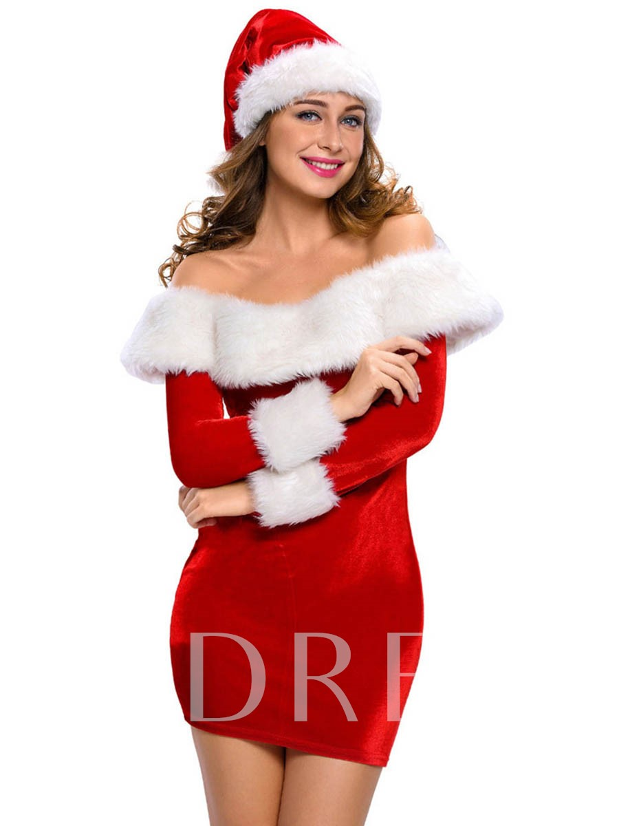 Slash Neck White Hem Slim Santa Cosplay Christmas Costume
