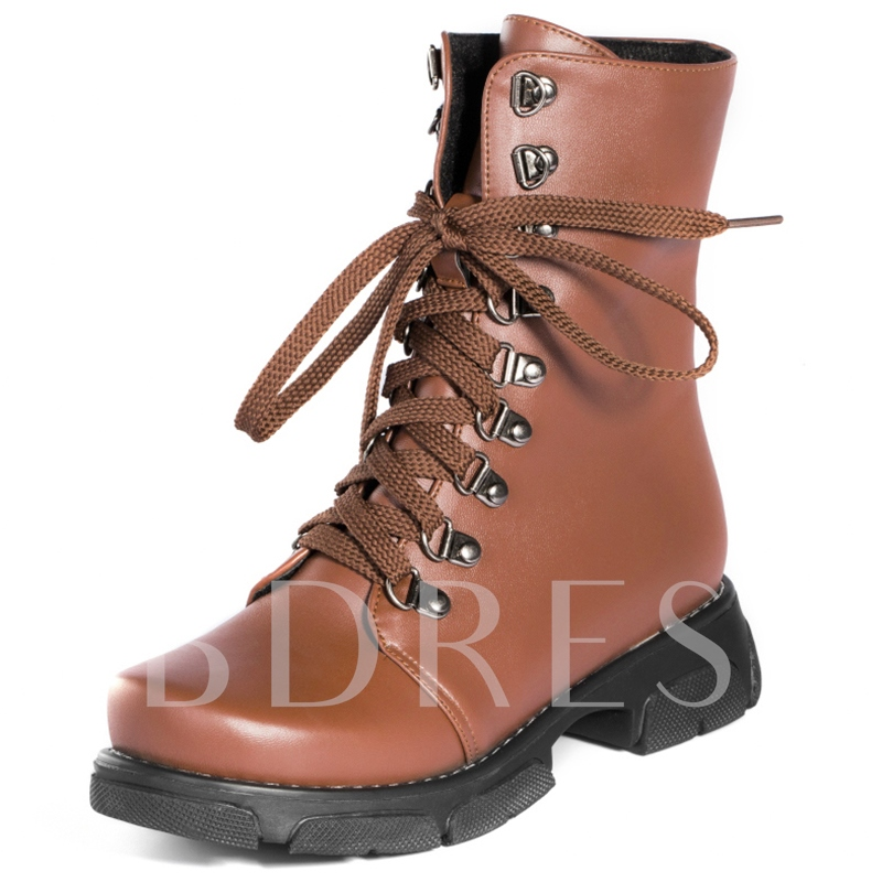 Round Toe Lace-Up Front Ankle Plain Women's Boots