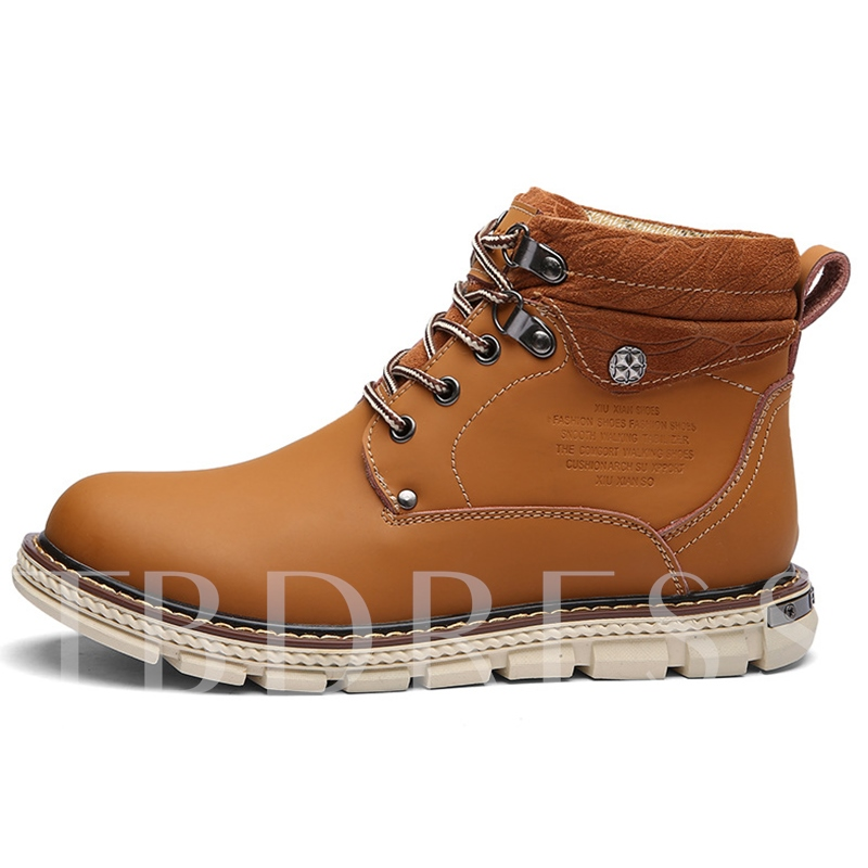 Round Toe Lace-Up Ankle Men's Boots