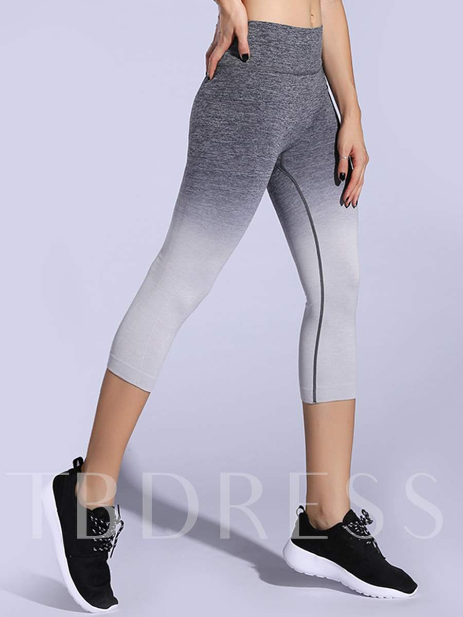 Gradient Color Anti-Sweat Springy Women's Capri Pants