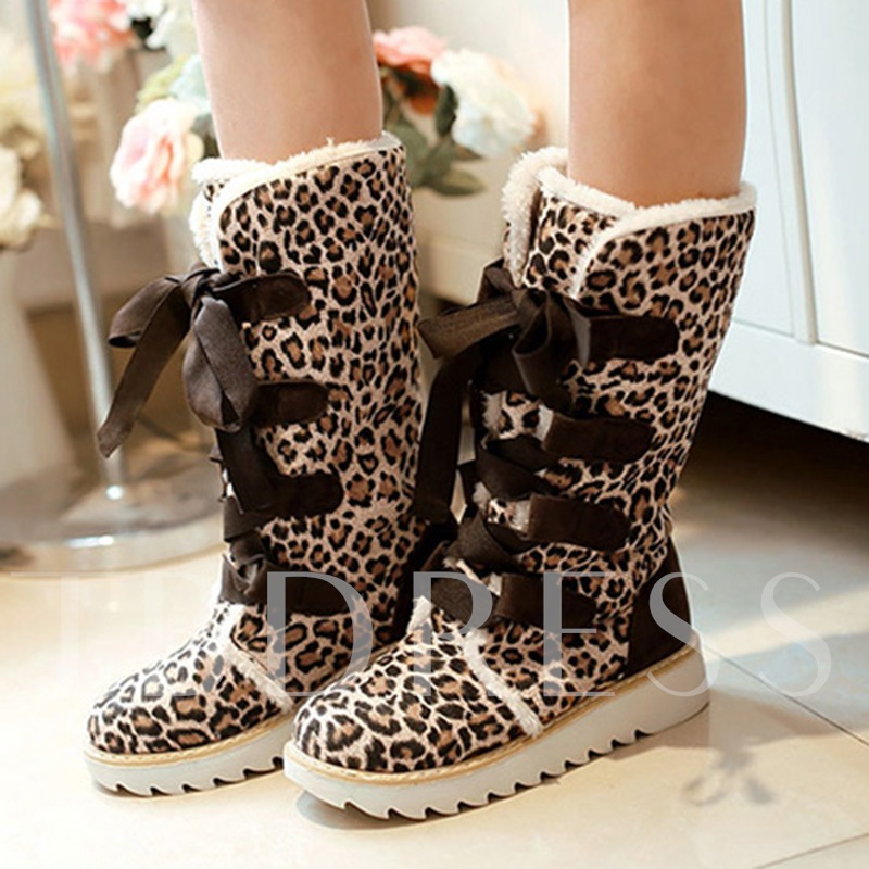 Plush Flat Knight Lace-Up Front Leopard Mid-Calf Women's Snow Boots