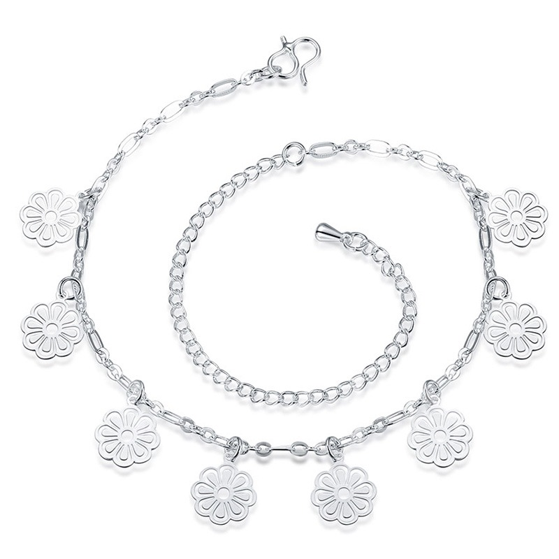 Silver Plated Flowers Pendant Vogue Anklet