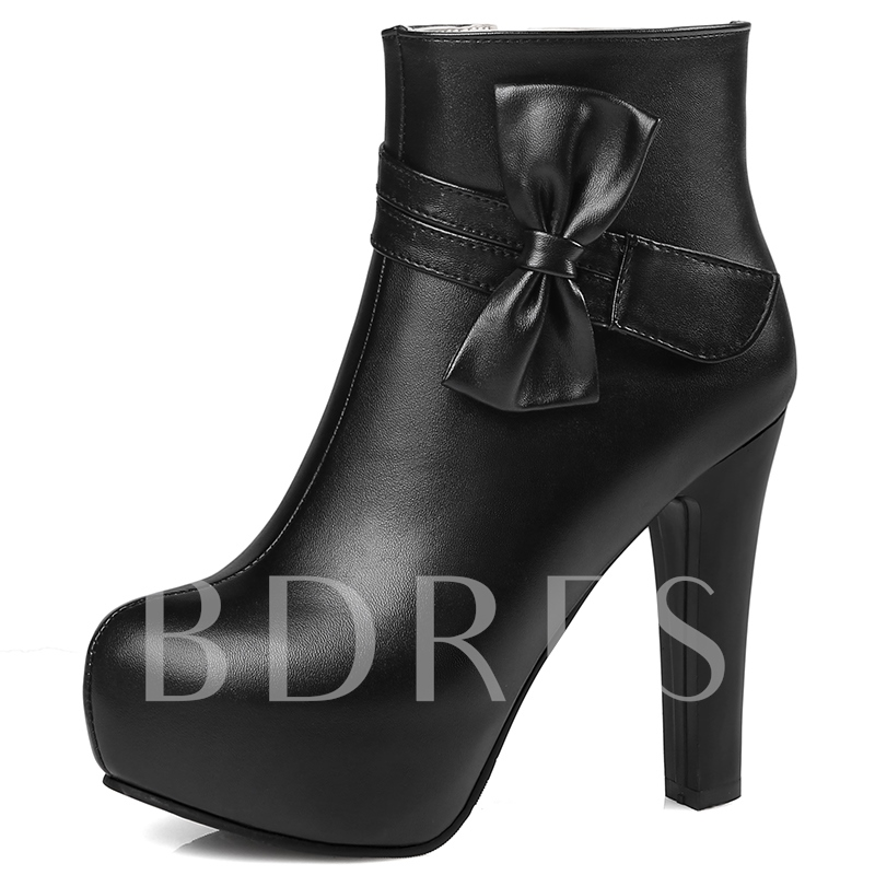 Ankle Bow Side Zipper Round Toe Women's Boots
