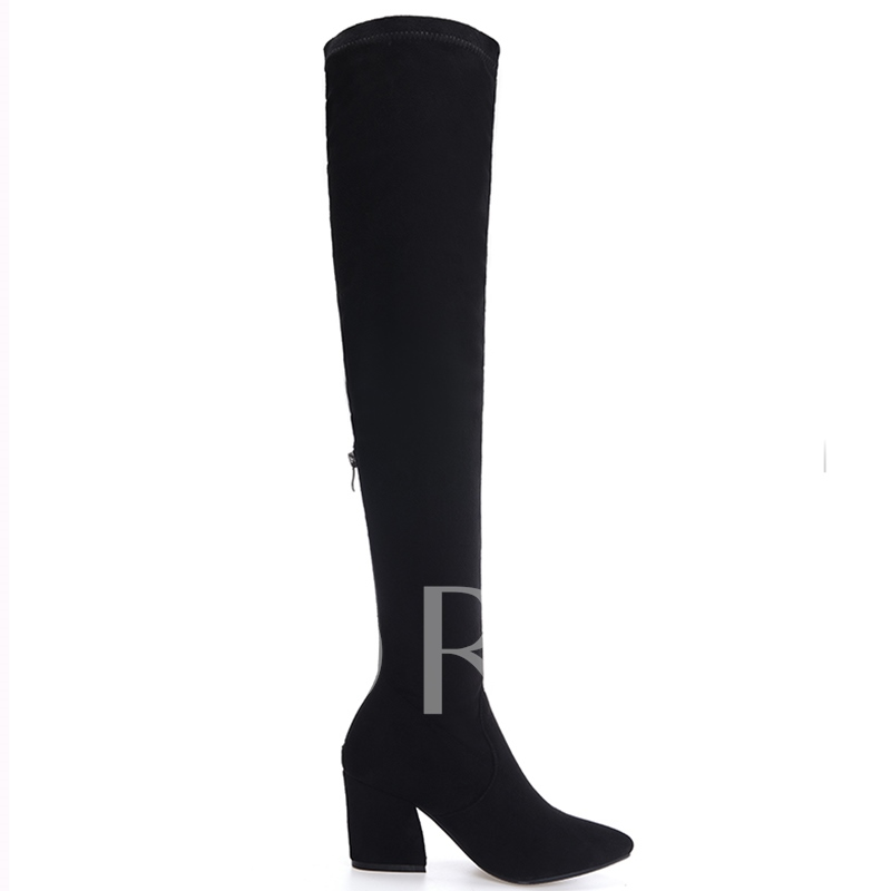 Pointed Toe Back Zipper Over-the-Knee Women's Boots