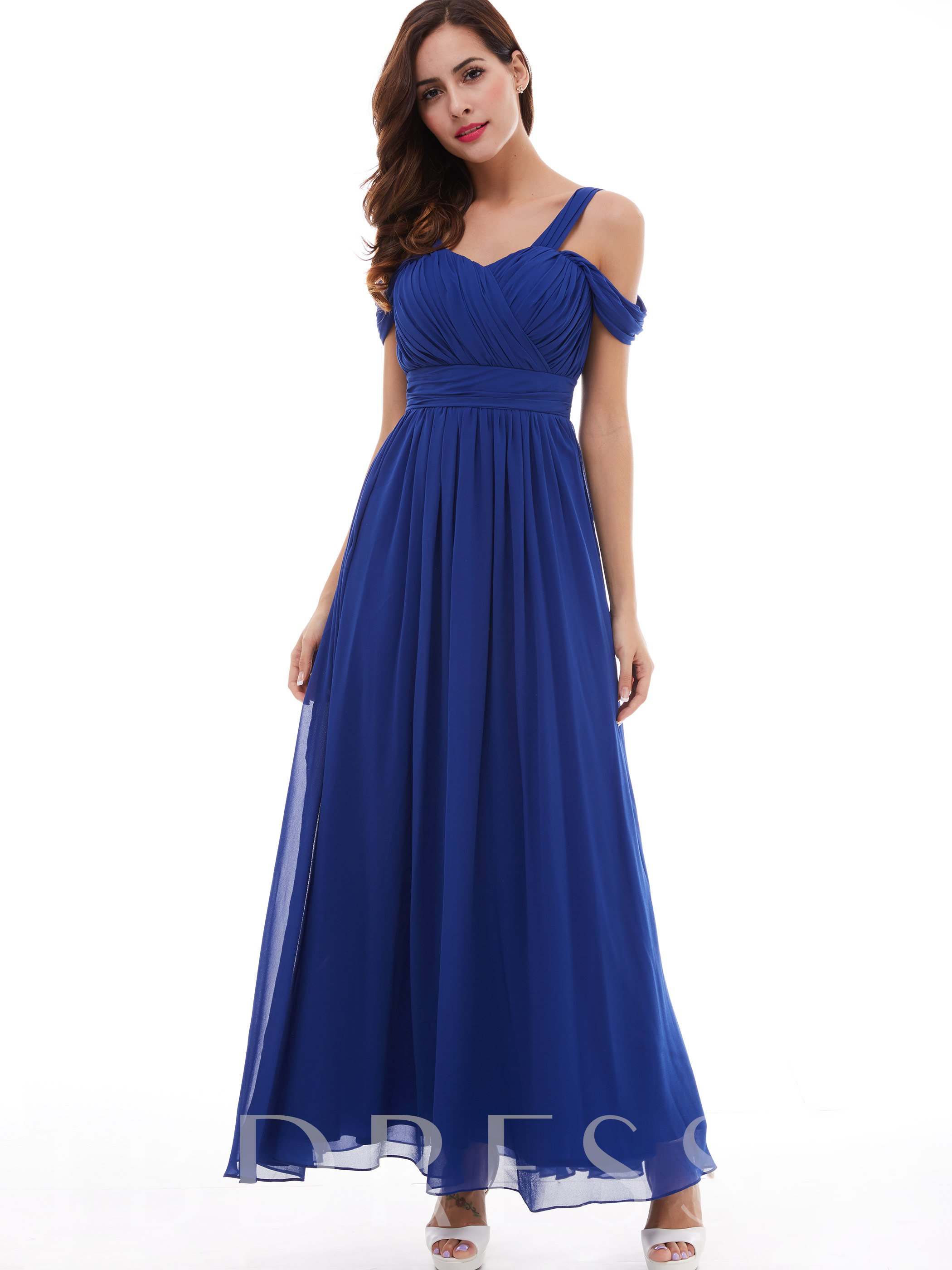 Image of A-Line Open Shoulder Pleated Chiffon Evening Dress