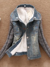Color Block Winter Denim Women's Jacket With Faux Fur