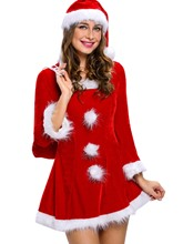 Sexy Patchwork Pompon Santa Cosplay Christmas Costume