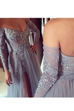Sheath Off-the-Shoulder Appliques Beading Pearls Asymmetry Evening Dress
