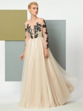 A-Line Button Jewel Long Sleeves Appliques Long Evening Dress