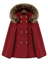 Removable Hooded Euramerican Woolen Women's Cape Coat
