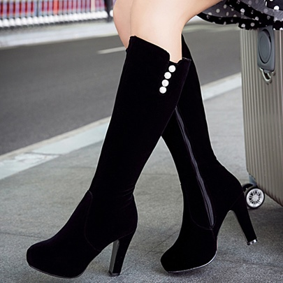 Round Toe Side Zipper Knee-High Rhinestone Plain Women's Boots