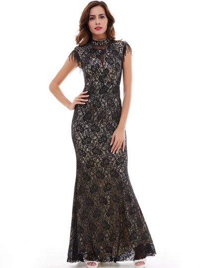 Choker High Neck Lace Trumpet Evening Dress