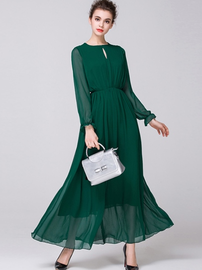 Round Neck Hollow Ankle-Length Maxi Dress