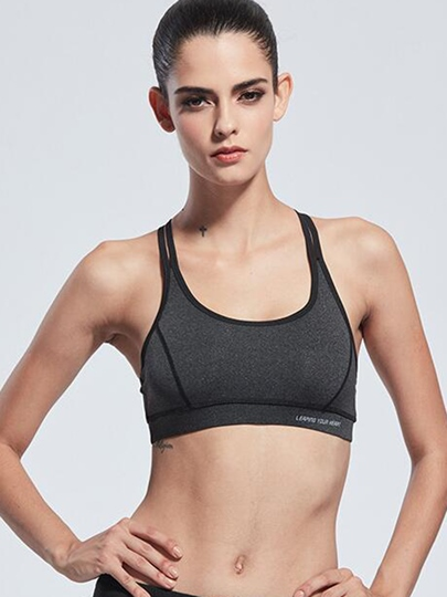 Polyester Full Cup Strappy-Back Women Sports Bra