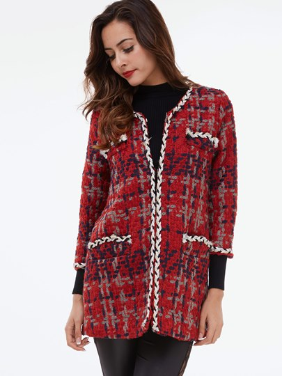 Plaid Hidden Button Round Neck Long Sleeve Women's Cardigan