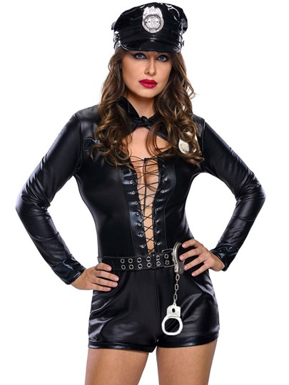 Sexy Black Strappy Belt Police Cosplay Costume