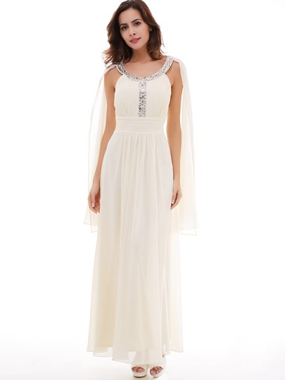 Beading Scoop Neck A-Line Long Evening Dress