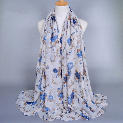 Charming Peony Printing Voile Scarf