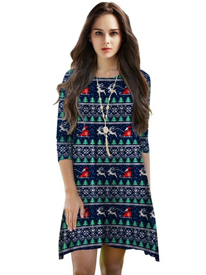 Christmas Half Sleeve Printed Women's Day Dress